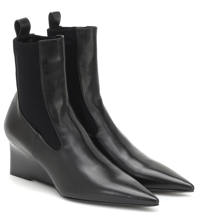 Jil Sander Leather wedge ankle boots in black