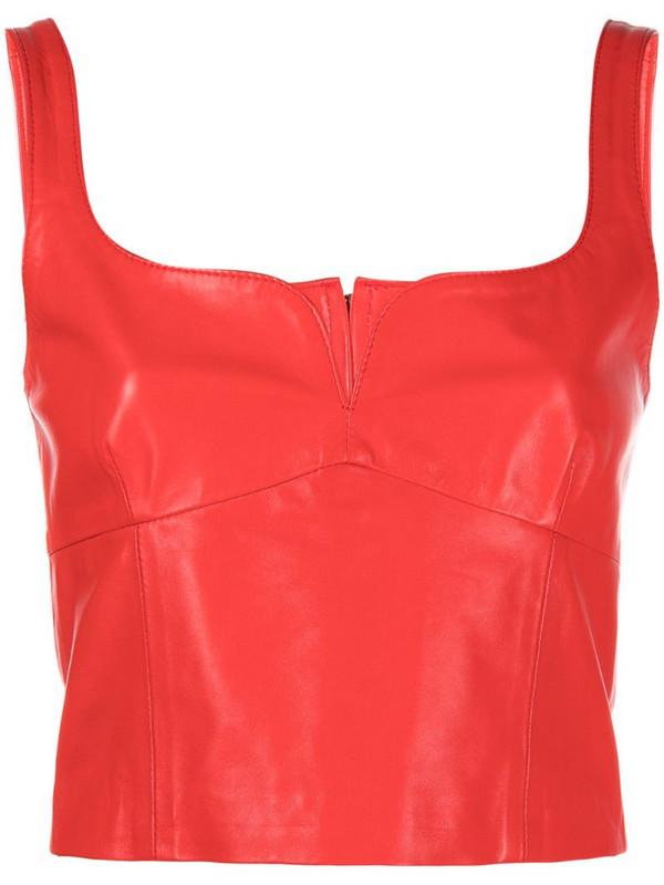 Manokhi Vera leather bodice top in red