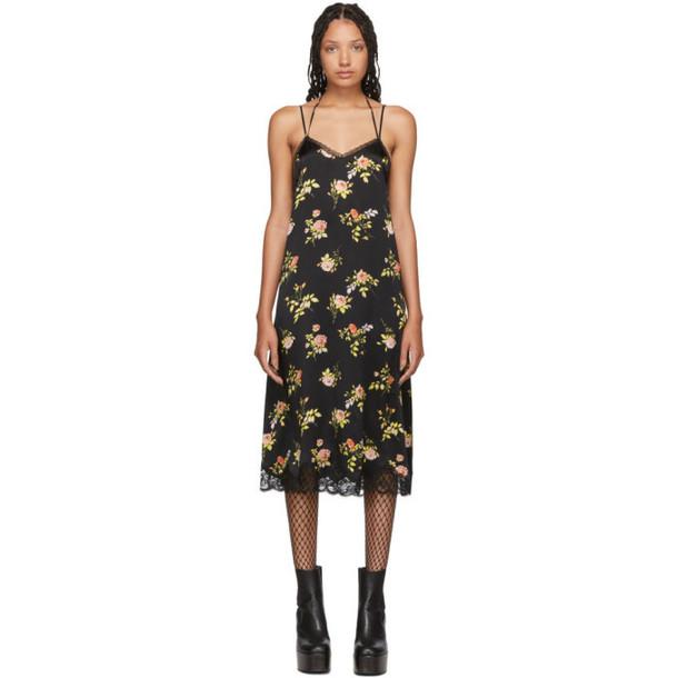 R13 Black Silk Lace Back Slip Dress