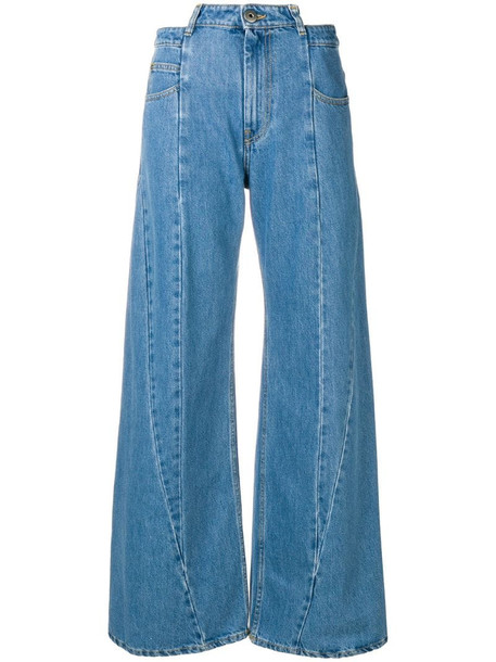 Maison Margiela panelled wide leg jeans in blue
