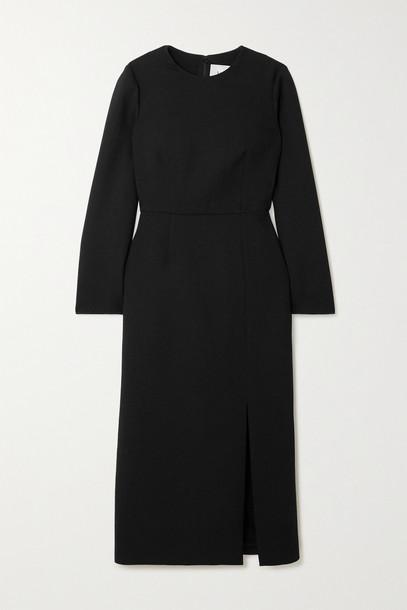 VALENTINO - Wool-blend Crepe Midi Dress - Black
