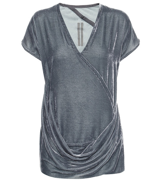 Rick Owens Draped velvet top in silver