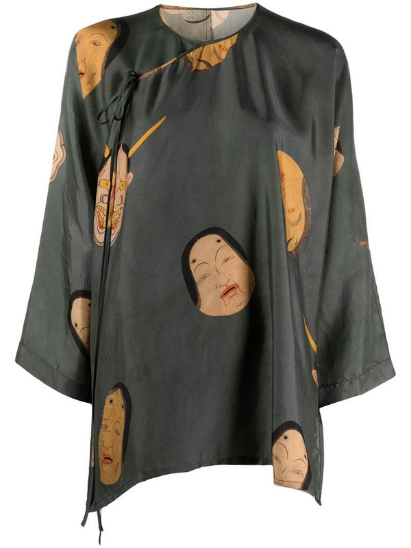 Uma Wang embroidered flared blouse in green