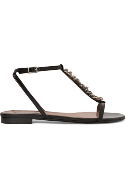 Tabitha Simmons - Shell-embellished Leather Sandals - Black