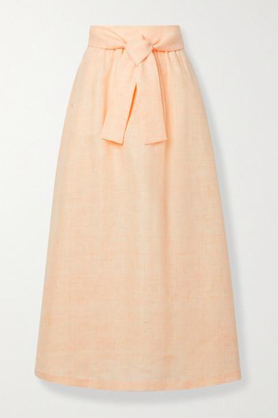 LAFAYETTE 148 - Reina Belted Mélange Linen Midi Skirt - Yellow