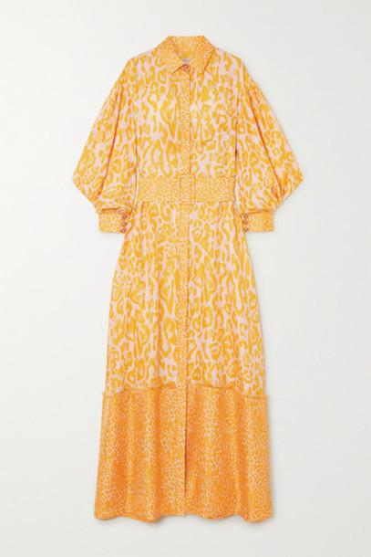 Ralph & Russo - Belted Frayed Leopard-print Silk-twill Maxi Shirt Dress - Yellow