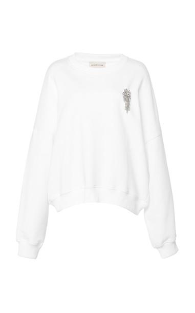 Alexandre Vauthier Embellished Cotton-Jersey Sweatshirt in white