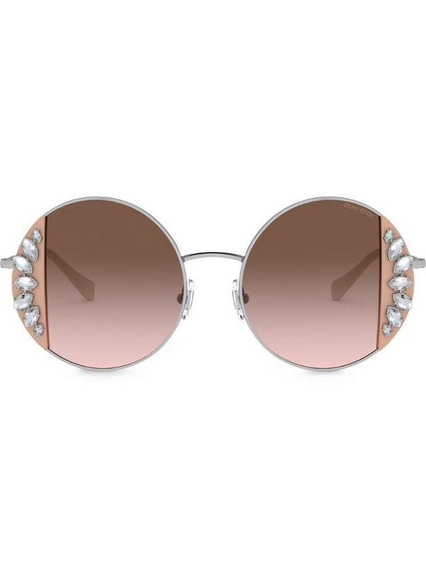 Miu Miu Eyewear Noir crystal-embellished sunglasses in neutrals