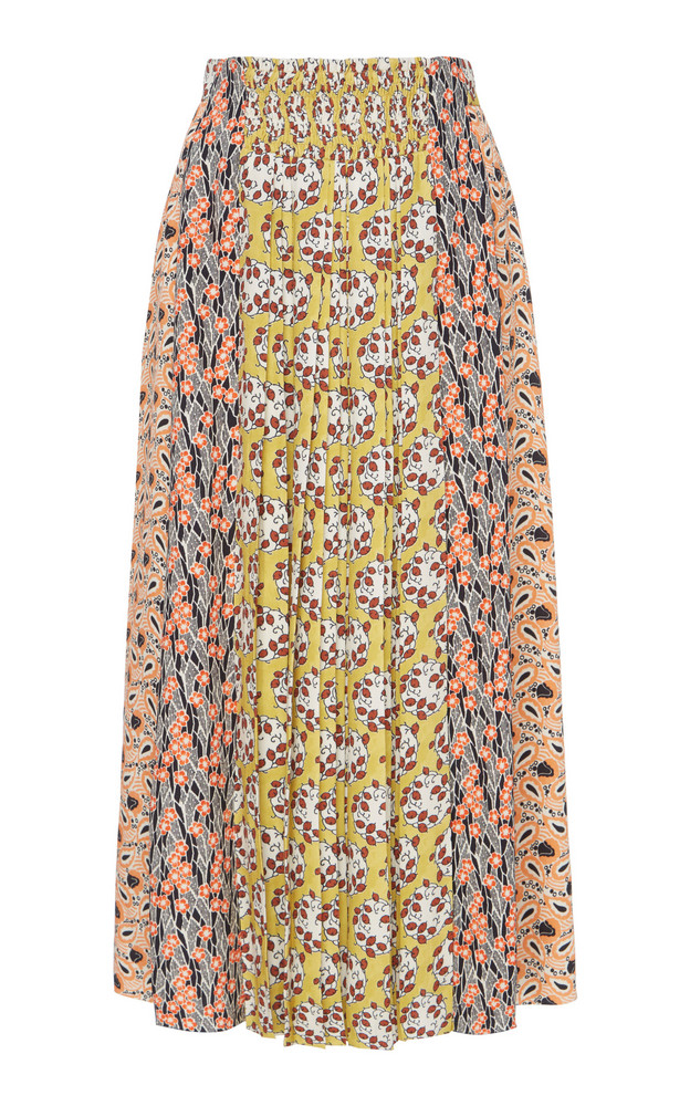 Prada Printed Pleated Satin Midi Skirt Size: 38 in print