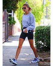 sweater,sweatshirt,black shorts,adidas,sneakers