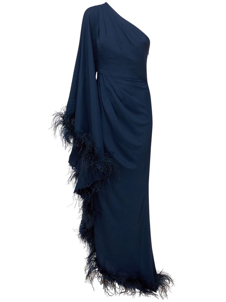 ZUHAIR MURAD Jersey One Shoulder Dress W/feathers in navy