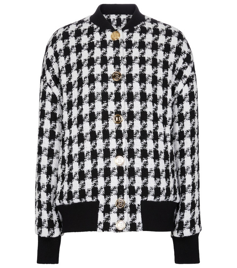 Balmain Tweed bomber jacket in black