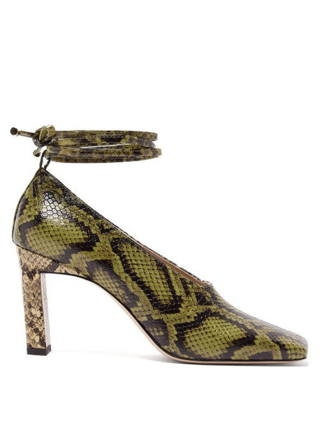Wandler - Isa Wraparound Python-effect Leather Pumps - Womens - Green Multi