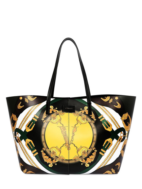 VERSACE Printed Leather Tote Bag in green