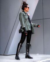 jacket,military style,black boots,black leggings,black top,crossbody bag