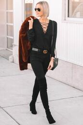 straight a style,blogger,jeans,shoes,jewels,jacket,gucci bag,gucci belt,faux fur jacket,over the knee boots