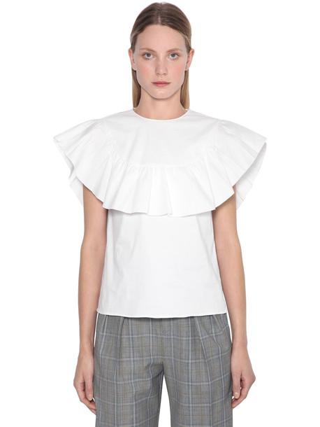 RED VALENTINO Ruffled S/s Cotton Poplin Shirt in white