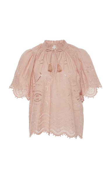 Sea Naomie Embroidered Lace Cotton Top in pink