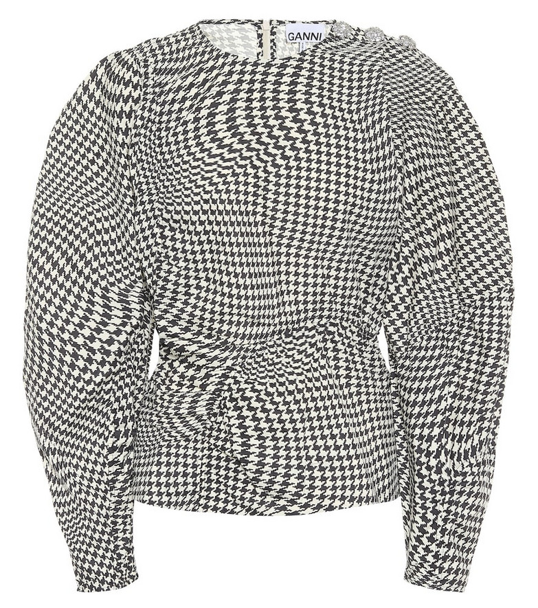 Ganni Houndstooth cotton-poplin top in black