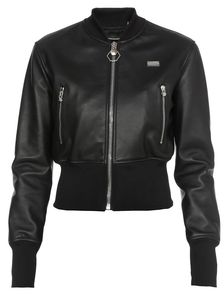 Philipp Plein Leather Jacket in black