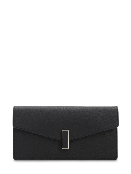 VALEXTRA Iside Grained Leather Clutch in black