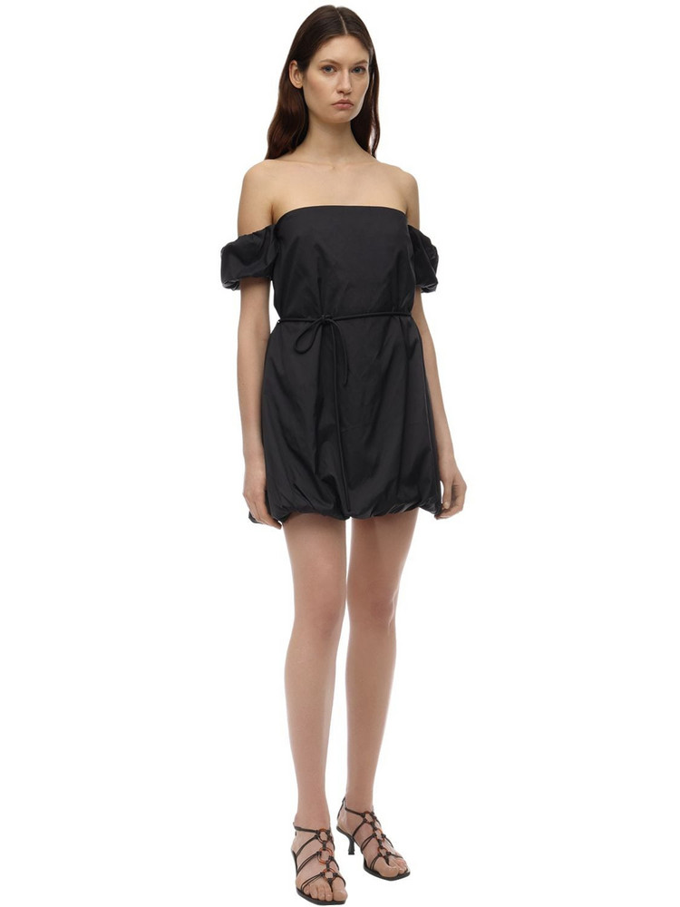 STAUD Off-the-shoulder Nylon Playsuit in black