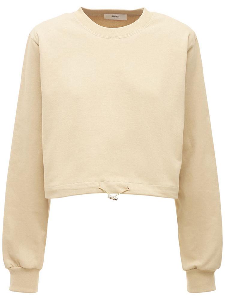 THE FRANKIE SHOP Cotton Jersey Sweatshirt W/shoulder Pads in brown