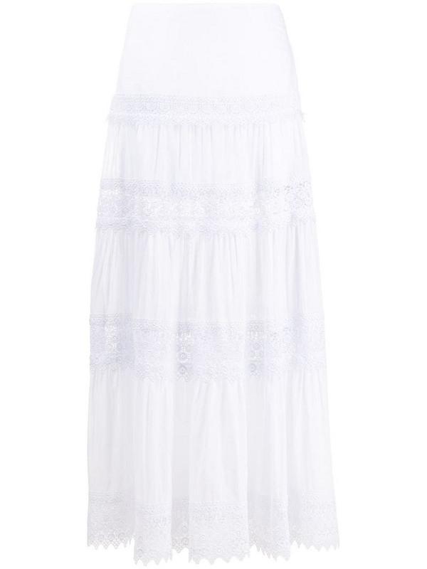 Charo Ruiz Ibiza embroidered full skirt in white