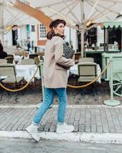 jacket,blazer,h&m,white shoes,platform shoes,jeans,bag,fendi,beret