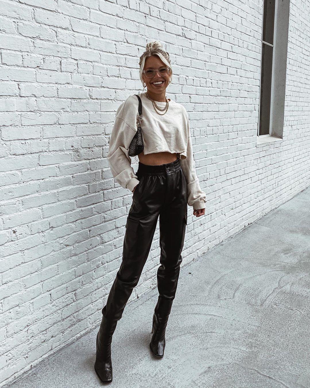 pants black leather pants cargo pants black boots crop tops bag