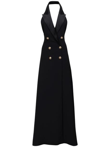 BALMAIN Halter Neck Backless Crepe Long Dress in black