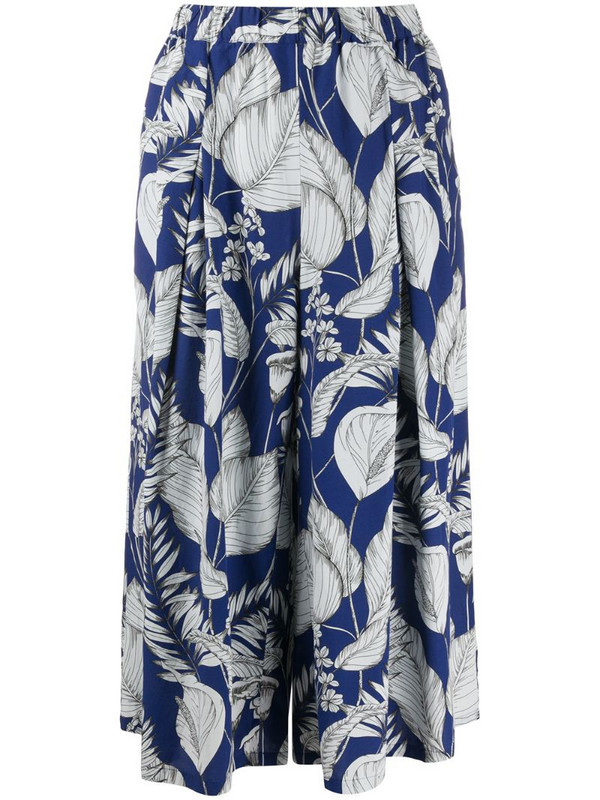 Zucca foliage-print trousers in blue