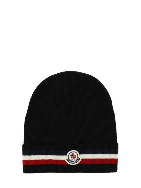 MONCLER Logo Stripe Virgin Wool Rib Knit Beanie in black