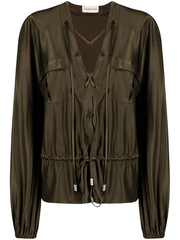 Alexandre Vauthier lace-up satin blouse in green