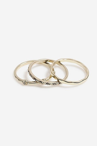Topshop *Finer Crystal Stone Ring Pack - Clear