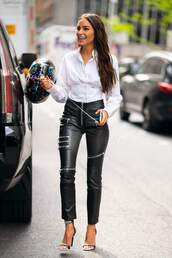 top,shirt,celebrity,black and white,pants,sandals,olivia culpo