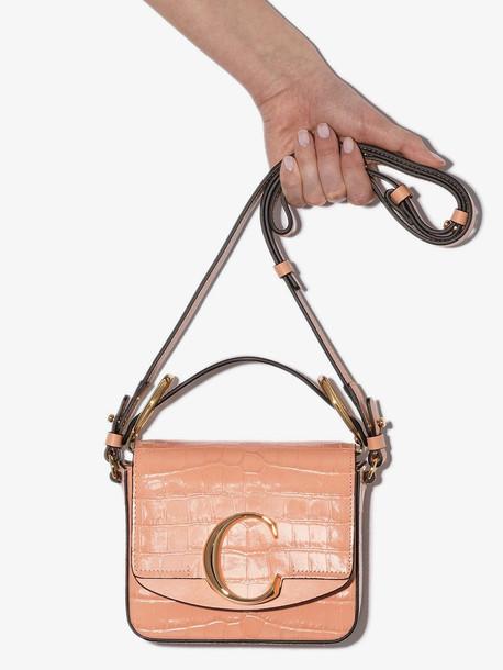 Chloé Chloé orange C mini mock croc leather bag