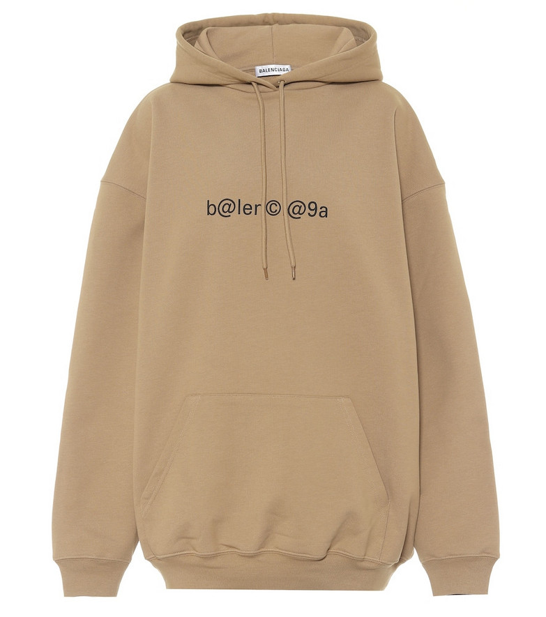Balenciaga Logo oversized cotton hoodie in beige