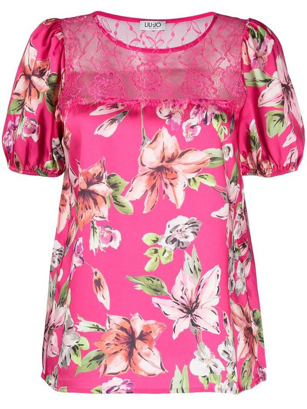LIU JO floral print T-shirt in pink