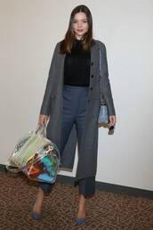 bag,metallic,miranda kerr,coat,pants,top,celebrity,model off-duty