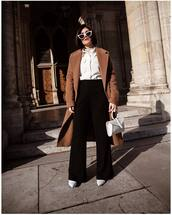 pants,flare pants,black pants,high waisted pants,white boots,handbag,white bag,long coat,brown coat,white sunglasses,white shirt,white turtleneck top,prada