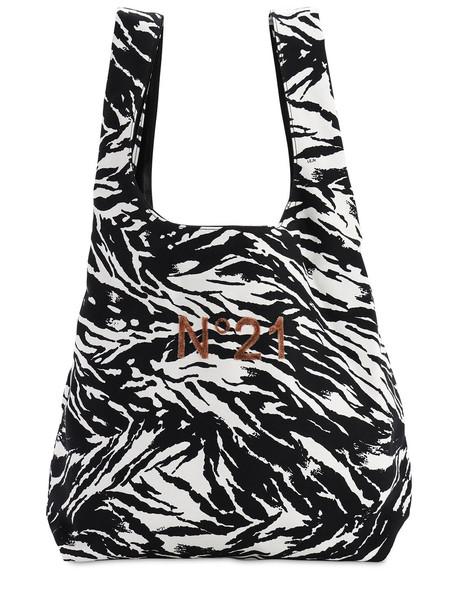 N°21 Zebra Printed Viscose Tote Bag in black / white