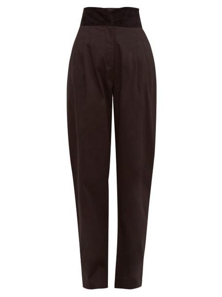 Àcheval Pampa Àcheval Pampa - Gato Velour Waistband Cotton Blend Trousers - Womens - Black