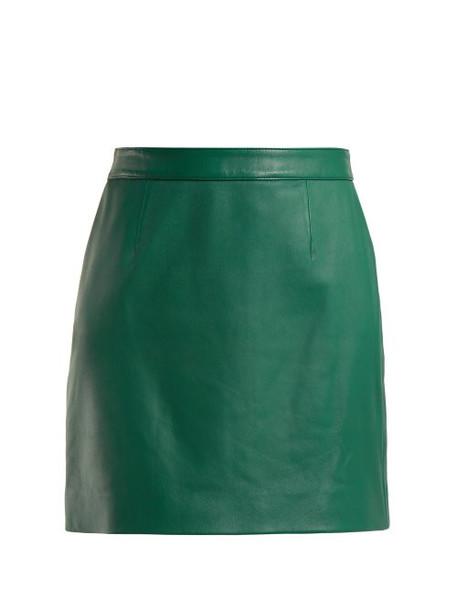 Alexachung - Leather Mini Skirt - Womens - Green