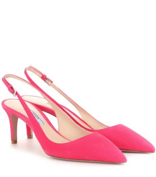 Prada Suede slingback pumps in pink
