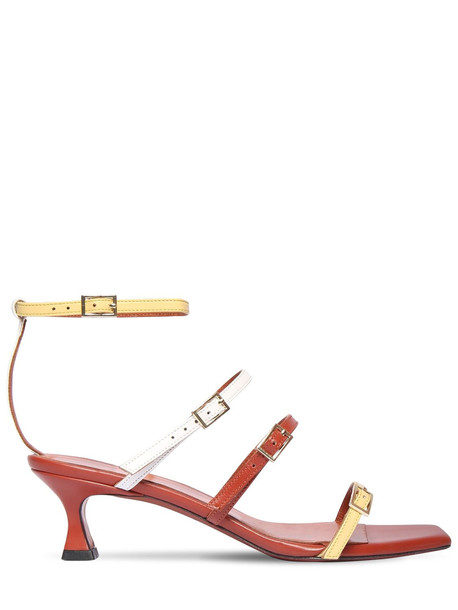 MANU ATELIER 50mm Naomi Leather Sandals in yellow / multi
