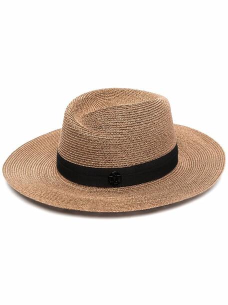Maison Michel fedora straw hat - Neutrals
