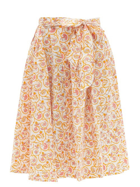 Thierry Colson - Java Pleated Floral-print Waist-tie Cotton Skirt - Womens - Yellow Print