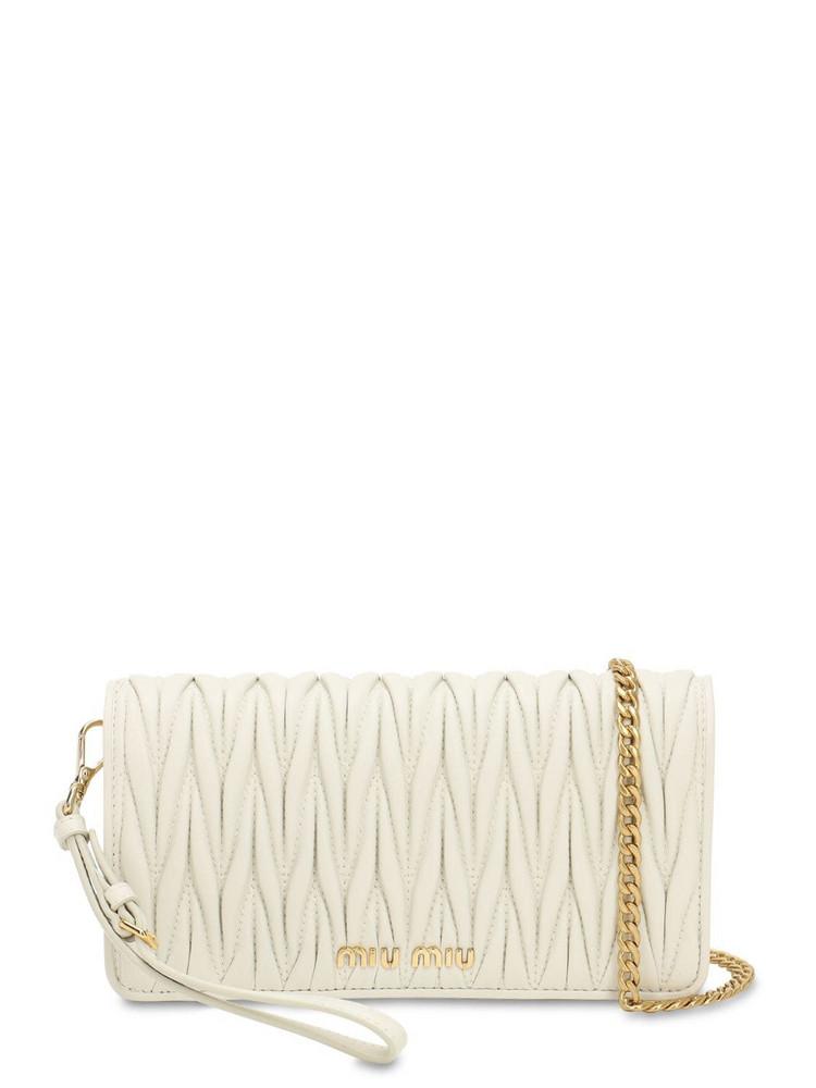 MIU MIU Mini Quilted Leather Shoulder Bag in white