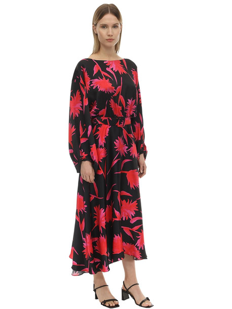 SALONI Kim B Printed Silk Satin Midi Dress in black / pink